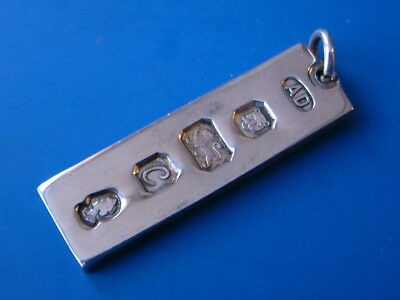 """Silver Ingot Pendant - London 1977 by AD - 1.5""""/4cm long - Weighs 15gm"""