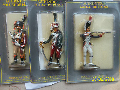 3x Soldats du Garde Imperial 1er Empire, Atlas / Starlux 60mm