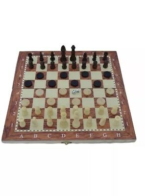 STUNNING 3 in 1 Hand Made Wooden Board Set for Chess Backgammon & Draughts