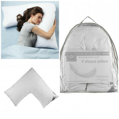 V Shaped Goose Feather & Down Pillow Pregnancy Maternity Orthopedic Back Support