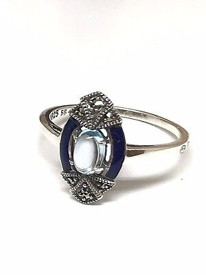 Ring 925 silver/1000 look vintage , blue topaz , email and marcasite
