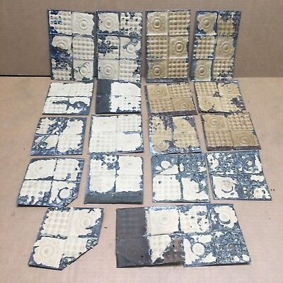 """19pc Lot of 4"""" by 4""""+ Antique Ceiling Tin Vintage Reclaimed Salvage Art Craft"""