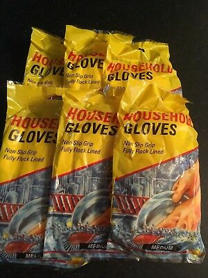 6 Pairs Non Slip Household Yellow Rubber Gloves Size Medium