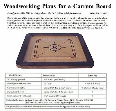 WOODWORKING PLANS - build a traditional CARROM/KARUM game board. D-I-Y plans.