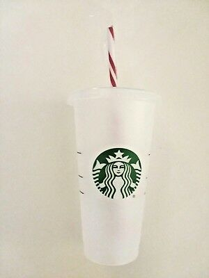 Starbucks Reusable Venti 24 fl oz Frosted Ice Cold Traveler Cup Candy Cane Straw