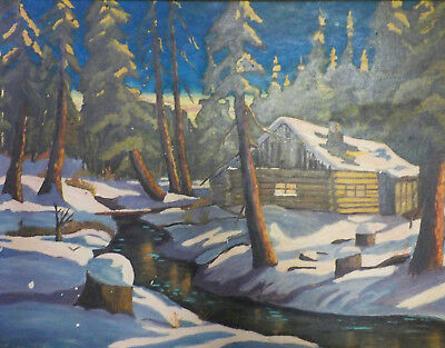 Beautiful Vintage Canadian Oil On Panel Painting Winter Scene w/ Cabin, Nice!