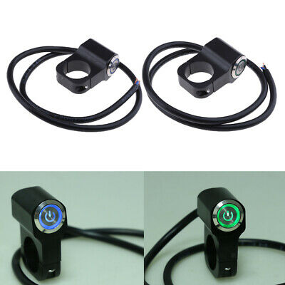 2x Universal 25mm Motorcycle Handlebar Headlight Switch & Wires