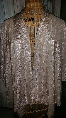 5d4c79678854a Zara Womens Special Edition Open Front Cardigan Metallic Top Gold   Silver  ...