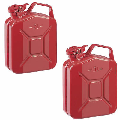 2x 5L Red Metal Jerry Can Fuel Petrol Diesel Oil Containers Canister Army 4x4