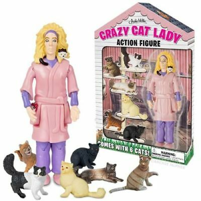 New Accoutrements Crazy Cat Lady Action Figure Set w/ 6 Cats Kittens Lover Gift