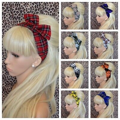 BLACK WHITE HOUNDSTOOTH CHECK BENDY MOD RETRO WIRE WIRED HAIR HEAD BAND VINTAGE