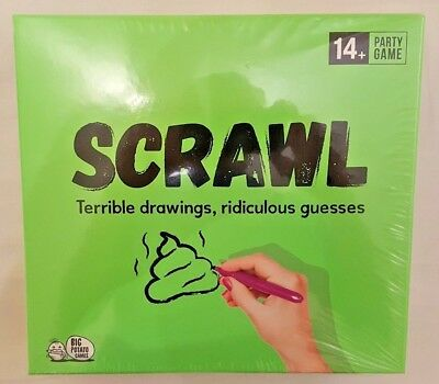 SCRAWL Party Game Draw Sketch Doodle Scribble Drawing Guessing 14+ (BASH)