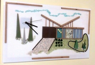 Mid Century Style Wall Clock Art Palm Springs Landscape Eames Frank Lloyd Wright