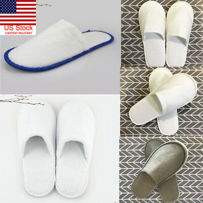 b7ac07263a5c2 US New Unisex Men Women Toe Guest Slippers Terry Hotel SPA Slipper Shoes  5Style
