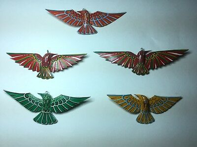 """5 Vintage Painted Carved Wood Spread Wing Bird Ornaments 7""""-8""""w"""