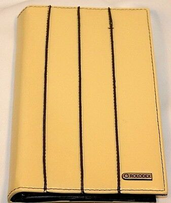 Rolodex Yellow CC Business Cards Notepad Holder Faux Leather Organizer Reduced