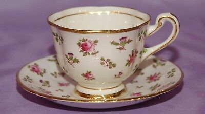 Royal Chelsea Bone China Teacup & Saucer Red Roses Thistle Hand Painted Leaves