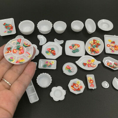 33 Pcs Dollhouse Miniature Tableware Plastic Plate Dishes Set Mini Food