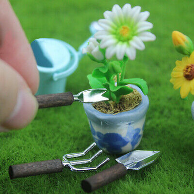 3PC Miniature Alloy Shovel Potted Tools for 1/12 Dollhouse Garden Yard Decor