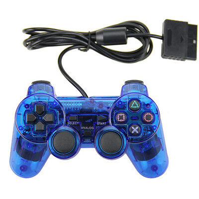 NEW Wired blue Dual Shock Controller for PS2 PlayStation Joypad Gamepad UK
