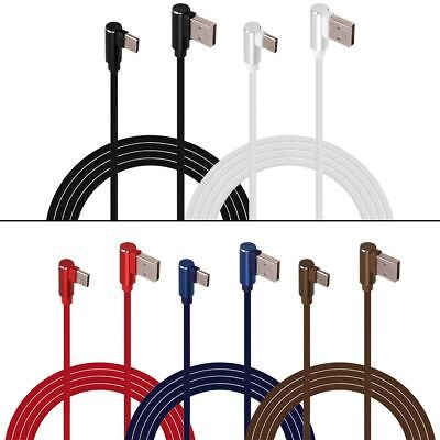 Double Elbow L-shaped Micro USB TypeC Fast Charger Cable Cord For iPhone Android