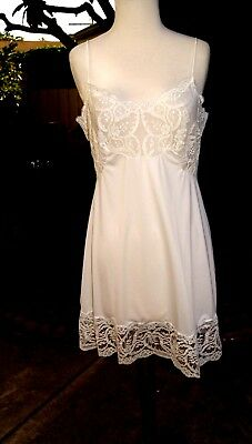 Vintage Bridal White IMEC Negligee Nightie Slip Wide Lace Made in Italy