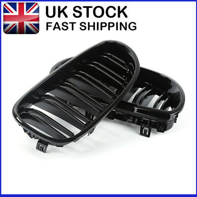 Front Kidney Grille For Bmw 5 Series E60 E61 2003-09 Double Slat Gloss Black Hb1