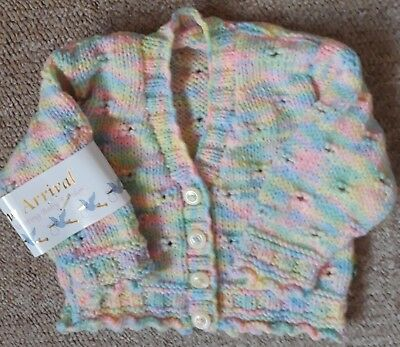 New Hand Knitted Baby Girls Multi  Colours Cardigan-Fit From Birth Approx