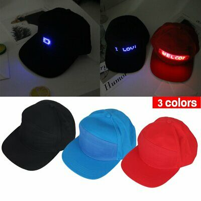 LED Screen Light Cool Hat Smartphone Controlled Waterproof Baseball Cap WR