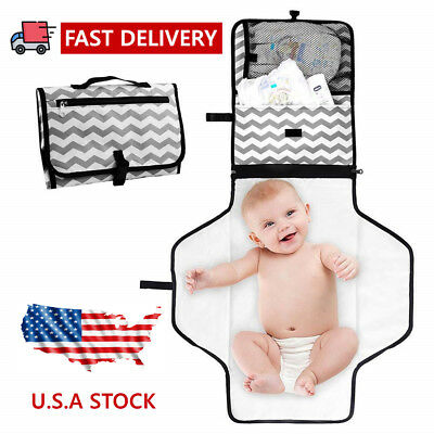 Baby Portable Folding Diaper Changing Pad Waterproof Mat Bag Travel Storage USA