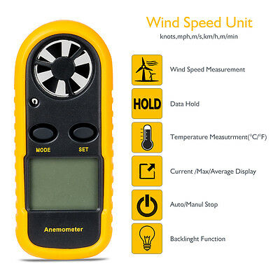 Digital LCD Air Wind Speed Meter Velocity Handheld Anemometer Thermometer 2019