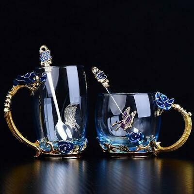 Rose Enamel Glass Mug Chinese Tea Cup Set Stainless Spoon Coffee Cup Beer Gifts