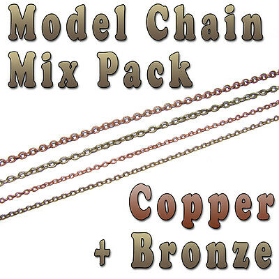 Hobby Model Chain Mix Pack - 3mm x 2mm & 2mm x 1.5mm -  Copper & Bronze colors