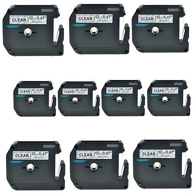 """10PK M-K131 MK-131 Black On Clear Label Tape For Brother P-Touch PT-65SL 1/2"""""""