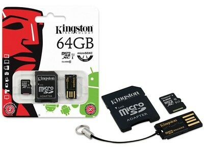 Kingston Mikro sd SDHC Memory Card 64GB Klasse 10 UHS-I mit Adapter und Leser
