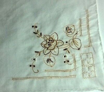 Vintage Embroidered Wedding Bridal Ladies Handkerchief French / Breton linen