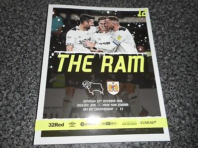 DERBY COUNTY  v  BRISTOL CITY  2018/19  DEC 22  MINT UNREAD - IN HAND  FREE POST