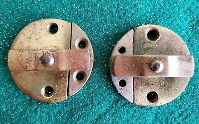 """Pair Of Round Antique Solid Brass Cabinet Locks Or Door Keepers 1 5/8""""  (N30)"""
