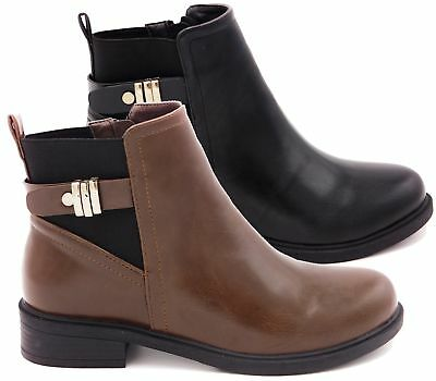 9964f1000 Womens Ladies Flat Ankle Chelsea Boots Casual Buckle Strap Zip Low Heel  Shoes