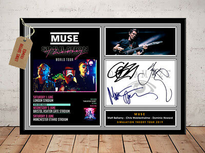 MUSE SIGNED Photo Print SIMULATION THEORY TOUR 2019 Free Postage