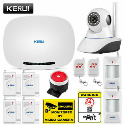 KERUI Auto Dialer Wireless GSM SMS Home House Security Alarm System+HD IP Camera