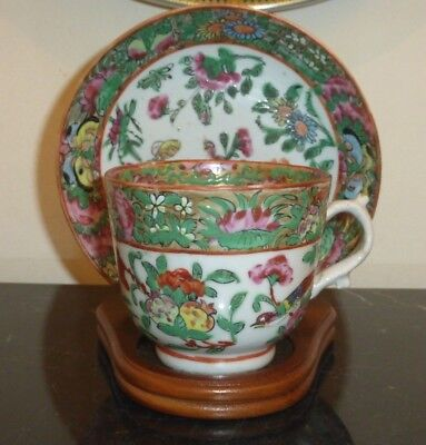 Antique 19Th Centuruy Chinese Porcelain Canton Famille Verte Rose Cup And Saucer
