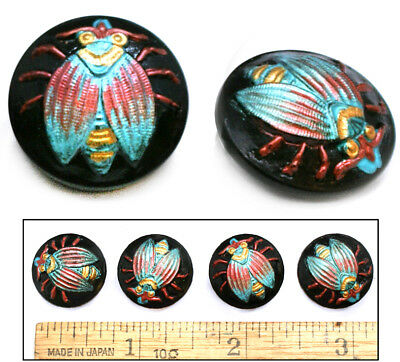 18mm Vintage Czech Glass Turquoise Black FLY Insect Buttons 4pc GREAT FOR CLASPS
