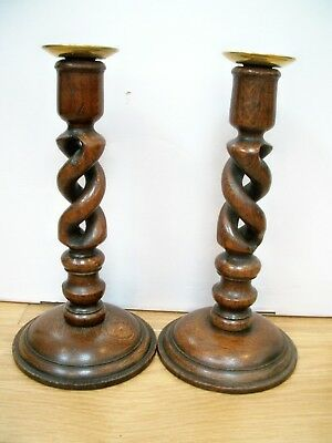 Pair Of Antique Oak Open Barley Twist Candlesticks With Brass Sconces