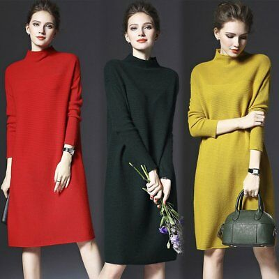 Loose Sweater Turtleneck Solid Color Women Long Sleeve Casual Knitted Dress MJ