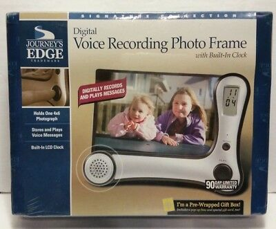 Digital  Voice Recording Photo Frame With Built in Clock By JOURNEYS EDGE New