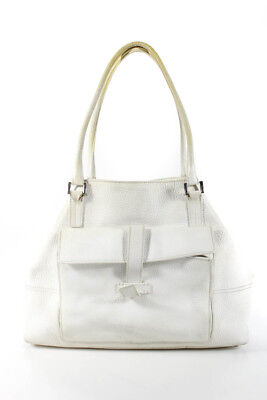 Loro Piana Womens Double Strap Globe Handbag White Pebbled Leather