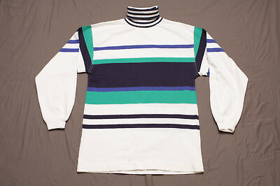 Vintage Class 955 Striped Turtleneck Shirt M Made In USA Stripe Colorblock 90's