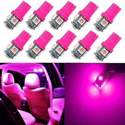 10Pcs Pink T10 5050 W5W 194 168 5SMD LED Interior Dome Map Trunk Light Bulbs 12V