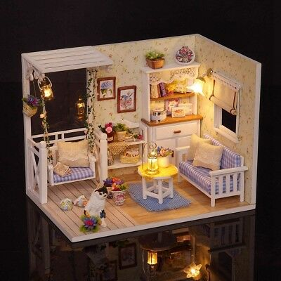 DIY Wooden Doll House Miniature Kit Architecture LED Dollhouse Toy Xmas Gift